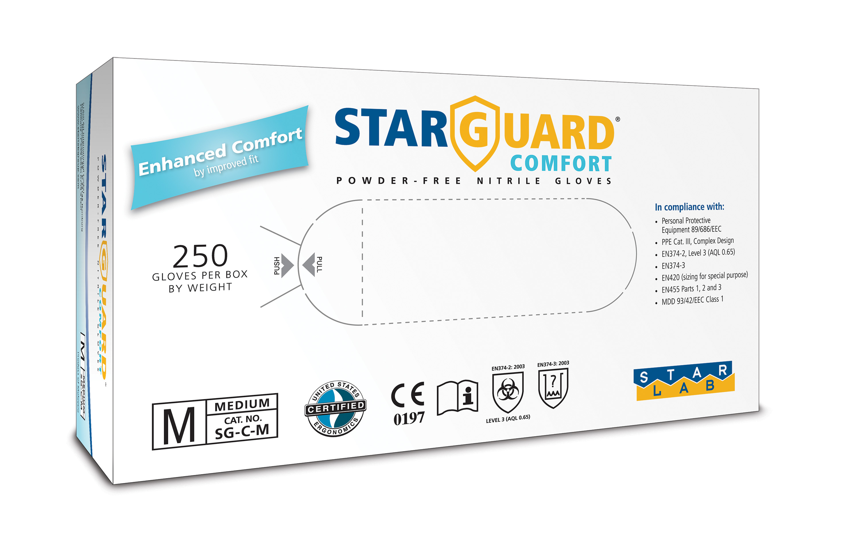 StarGuard COMFORT  (feels like Latex) Nitrile Gloves, Powder Free, Blue, Size L, Pk/ 10 x 250 gloves