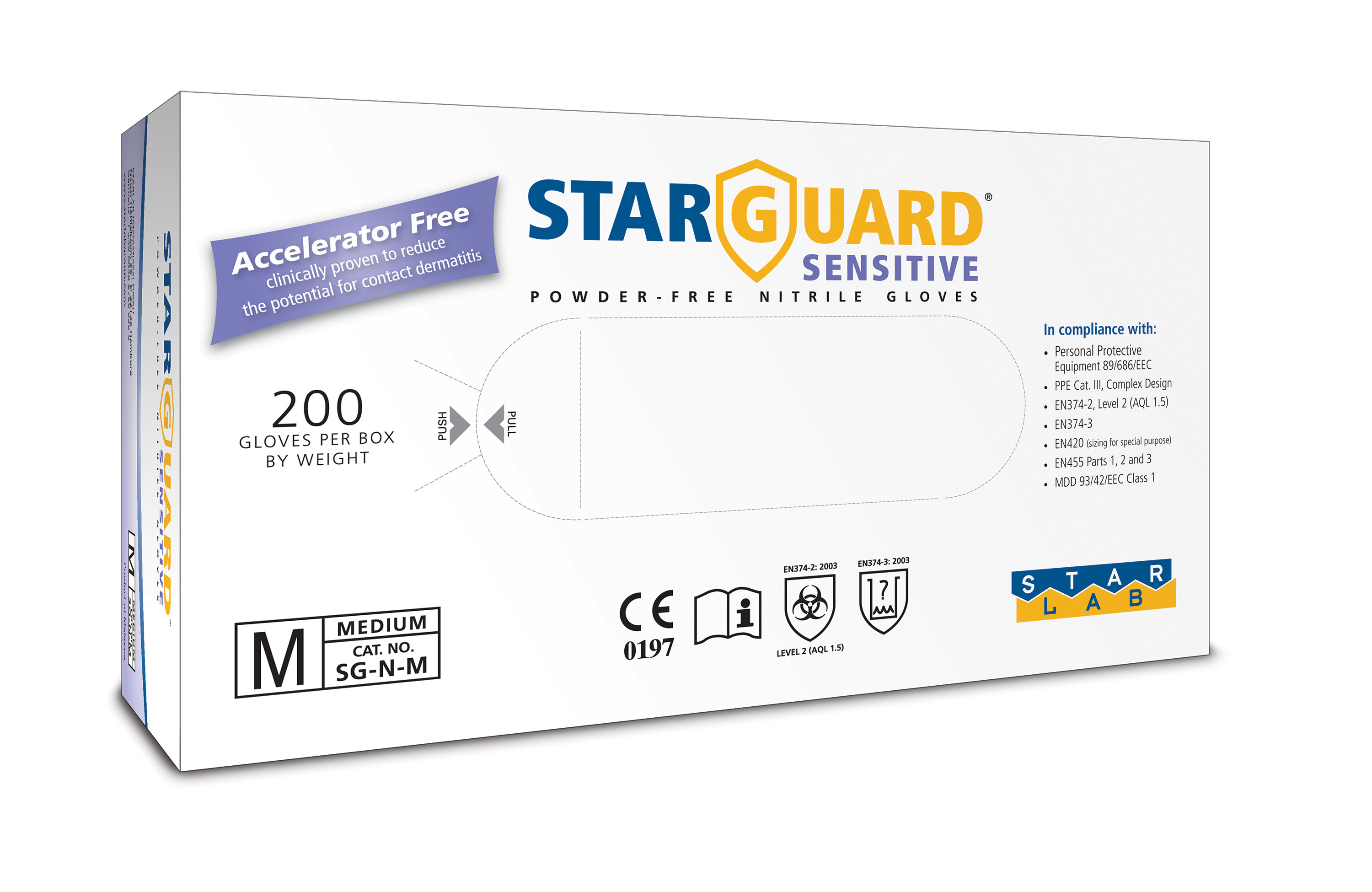 StarGuard SENSITIVE Nitrile Gloves, Powder Free, Blue, Size L, Pk/ 10 x 200 gloves